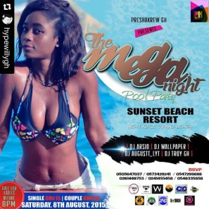 The Mega Night Pool Party. Organized by Hypewily of Preshakrew, on the 8th of August at Sunset Beach Resort, Korle Gonno.