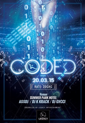 Coded (The Party). Organized by Legacy Entertainment in Kumasi on the 20th Of March 2015 as one of the official Republic Hall week Celebration parties.